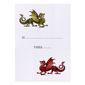 Gold Red Dragon Wedding Place Card Business Cards