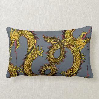 Gold & Red Dragons on Gray Lumbar Pillow