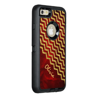 Gold Red Faux Glitter Chevron OtterBox Defender iPhone Case