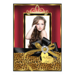 "Gold Red Leopard Print & Bow Photo Quinceanera 5"" X 7"" Invitation Card"