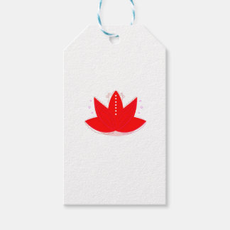 GOLD RED LOTUS HANDDRAWN ORNAMENTS PACK OF GIFT TAGS
