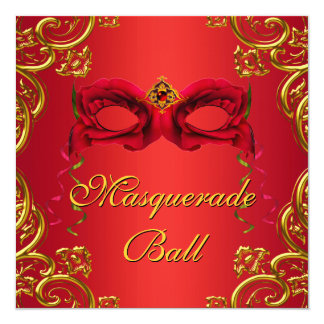 Gold Red Mask Red Masquerade Party Card