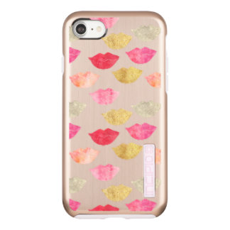 Gold Red Pink Watercolor Lips Incipio DualPro Shine iPhone 8/7 Case