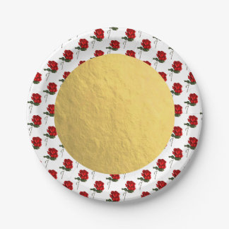 Gold Red Roses Rose Elegant Floral Wedding Party Paper Plate