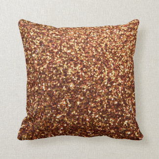 Gold Red Sparkly Glitter Throw Pillow