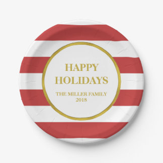Gold Red Stripes Happy Holidays Christmas Paper Plate
