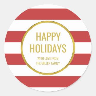 Gold Red Stripes Happy Holidays Custom Classic Round Sticker