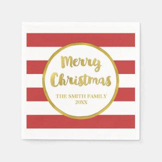 Gold Red Stripes Merry Christmas Napkin Paper Napkin