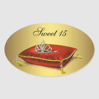 Gold Red Tiara Party Favor Label Envelope Seal Oval Sticker