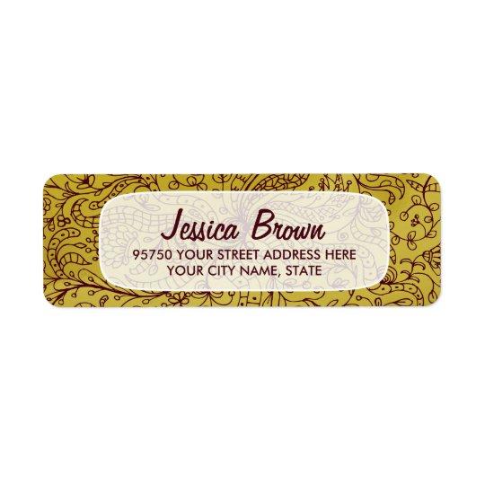 Gold & Red Vintage Floral Art Custom Address Label
