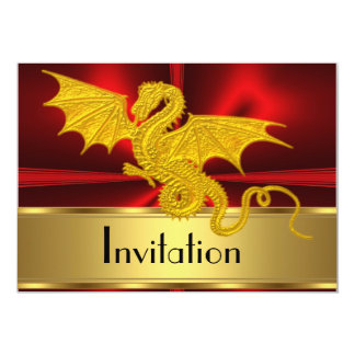 Gold Red Year of the Dragon Invitation
