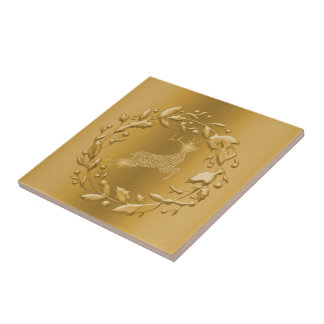 Gold Reindeer and Wreath Christmas Tile
