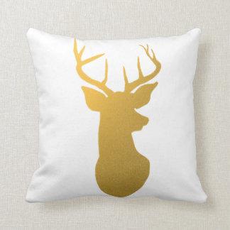 Gold Reindeer Antler Modern Silhouette Throw Pillow