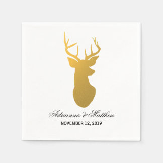 Gold Reindeer Antler Modern Silhouette Wedding Disposable Napkin