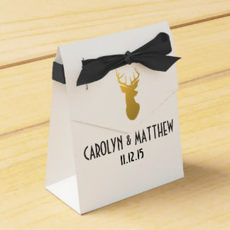 Gold Reindeer Antler Wedding Favor Box