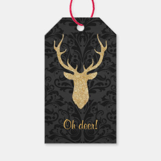 Gold Reindeer Head Silhouette Black Damask Pack Of Gift Tags