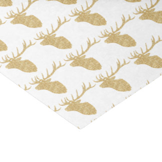 Gold Reindeer Head Silhouette Black Damask Tissue Paper