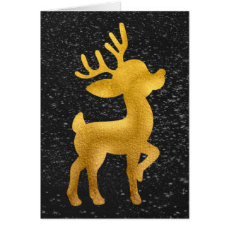 Gold Reindeer on Chalkboard Snow Card