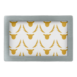 GOLD Reindeers on white Rectangular Belt Buckle