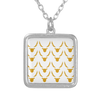 GOLD Reindeers on white Silver Plated Necklace