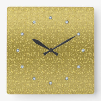 Gold Retro Glitter And Sparkles 2 Square Wall Clock