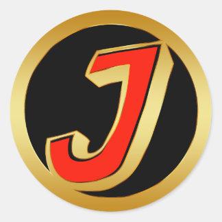 GOLD RETRO MONOGRAM LETTER J CLASSIC ROUND STICKER