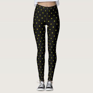 Gold Retro Stars Leggings