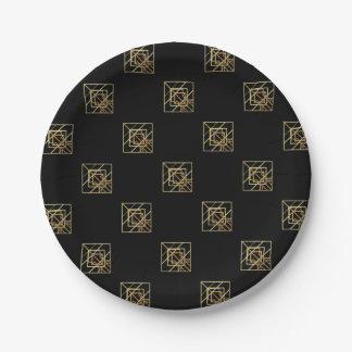Gold Retro Theme Paper Plate