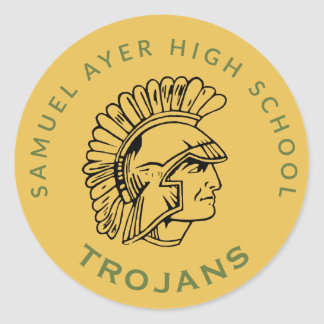 Gold Retro Trojan Class Reunion Sticker