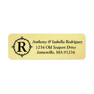 Gold Return Address Labels with Black Monogram