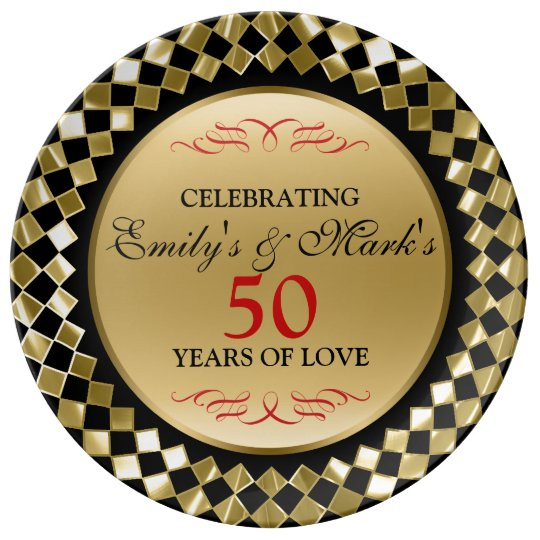 Gold Rhomboid And Red Swirls- 50th Anniversary Plate