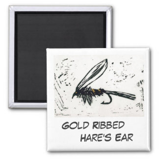 """""""Gold Ribbed Hare's Ear"""" Fly Fishing Art Magnet"""