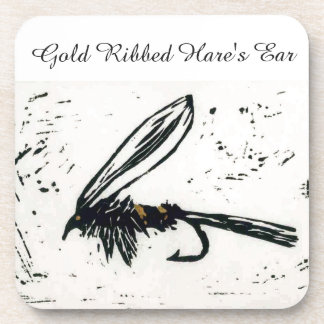"""""""Gold Ribbed Hare's Ear"""" Trout Wet Fly Coaster"""