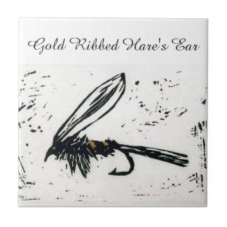 """""""Gold Ribbed Hare's Ear"""" wet fly tile. Ceramic Tiles"""
