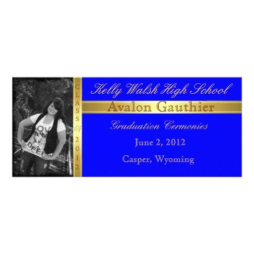 Gold Ribbon Add Photo Blue Graduation Invitation