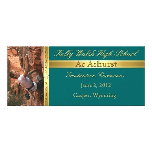 Gold Ribbon  Add Photo Teal Graduation Invitation