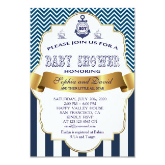 Gold Ribbon Blue Stripes Waves Anchor BABY SHOWER Card