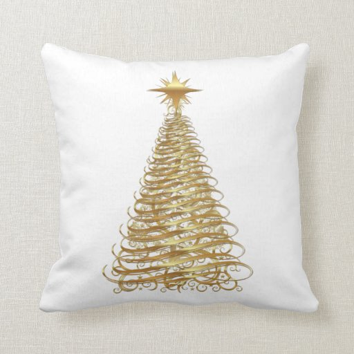 Gold ribbon christmas tree throw pillow