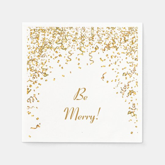 Gold Ribbon Confetti Holiday Paper Napkins