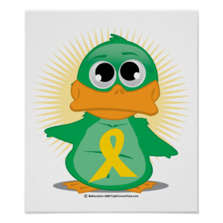 Gold Ribbon Duck Poster