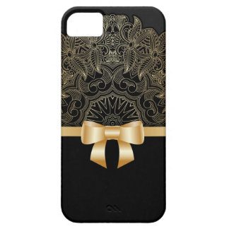 Gold,ribbon,lace,black,elegant,template,customise iPhone 5 Cases