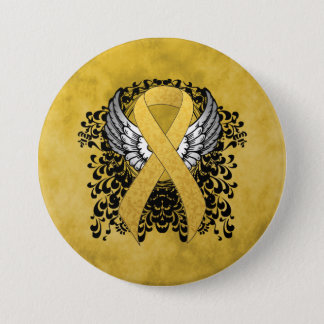 Gold Ribbon with Wings 3 Inch Round Button