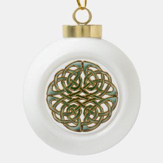 Gold rimmed green Celtic knot Ceramic Ball Christmas Ornament