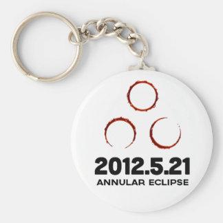 Gold ring solar eclipse keychain