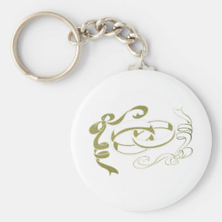 Gold Rings and Bows Art Keychain