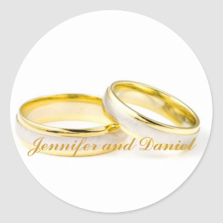 Gold Rings Bride Groom Wedding Favour Stickers