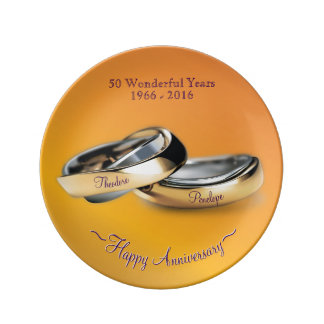 Gold Rings Golden Wedding Anniversary Porcelain Plate