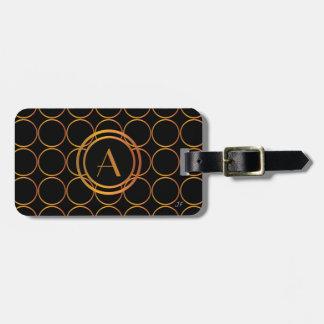 Gold rings monogram luggage tag