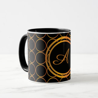 Gold rings monogram mug