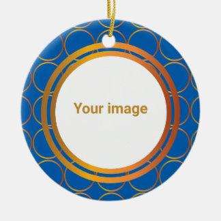 Gold rings monogram round ceramic ornament